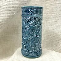 Antique Chinese Vase Bretby Art Pottery Teal Blue Cylinder Pot Oriental Girls