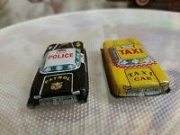 Rarissimo Mini Macchinina Police E TAXI  IN LATTA Anni 60 Made JAPAN