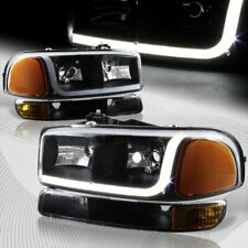 For 1999-2006 Gmc Sierra 1500 2500 Drl Led Black Amber Headlights+Bumper 4Pcs (Fits: Gmc)