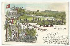 St. Gallen Gruss vom Jugendfest Litho 1898 nach Danzig RR!!