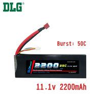 Genuine DLG RC Battery 11.1V 3S 25C 2200mAh Burst 50C Li-Po LiPo Dean's T plug