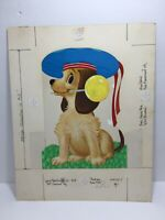 Vtg 70 Norcross Thank You Card Puppy Dog French Artist Beret Hat Mock-Up Proof