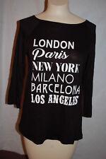 Womens 3/4 Slv Shirt BLACK WHITE Paris New York Barcelona Los Angeles L 12-14