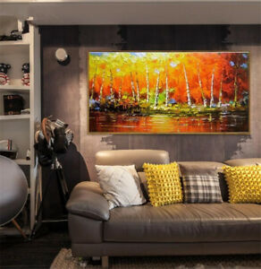 """Large Hand-painted Abstract Knife painting Grove on canvas Unframed 24""""x48"""""""
