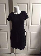 NEW ANN TAYLOR LOFT ELEGANT BLACK SHORT SLEEVE PETITE DRESS SIZE 0P