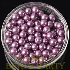 New 30pcs 8mm Round Glass Pearl Loose Spacer Beads Jewelry Making Purple