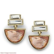 $44 Fossil Brand Half-Round Gold-tone Drop Earrings JA6659710 W Pink Glass Stone