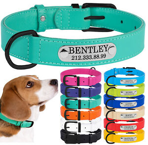 Soft Personalised Dog Collar Real Leather Collars for Small Medium Large Dogs