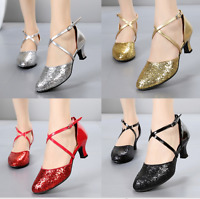 Bling Sequins Womens Round Toe Patent Leather Strappy pump Fashion Dance Shoes E