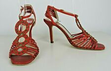 Christian Dior ALLEGRIA Red Leather High Heel Sandals EURO SZ 36 Italy