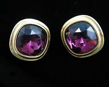 YSL Yves Saint Laurent EARRINGS FACETED Purple Glass Clip On Couture Goldtone