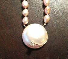 "14k Large Mother of Pearl MOP CZ Pendant, Freshwater Pearl 18"" Necklace"