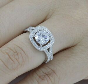 925 Sterling Silver Square Halo CZ Wedding Band Engagement Ring Size 3-15 SR189