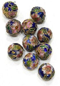Beads Chinese Dark Blue Cloisonne Beads