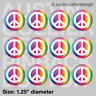 """12 Rainbow Peace Sign 1.25"""" Buttons Pins Badges - World  Pride Hippy Party Gift"""