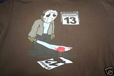 Funny T Shirt Jason Friday The 13, Knife With Blood Saturday 13 Brown