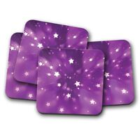 4 Set - Purple Shooting Stars Coaster - Space Night Girls Kids Cute Gift #14481