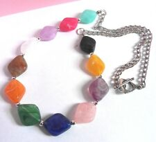 Colourful  Rhombus Bead & Chain Necklace - 24 inches