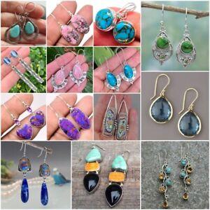 Fashion 925 Silver Turquoise Ear Hook Dangle Wedding Earrings Vintage Jewelry