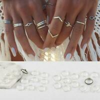 12X Frauen Silber Midi Fingerring Set Vintage Punk Boho Knuckle Ring Schmuck