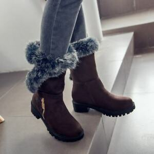 New Womens Faux Suede Fur Lining Mid-Calf Boots Round Toe Lace Up Warm Shoes