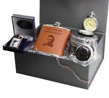 More details for johnny cash signed gift hamper personalised pocket watch hip flask keyring set