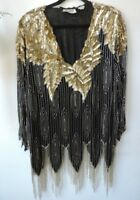 1980's Vintage Art Deco Beaded Sequin Flapper Top XL PLUS Fringe Dramatic Rich