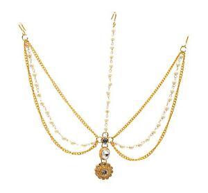 Indian  Pearl Maang Tikka Matha Patti Head Piece Cubic Zircon Bollywood Jewelry