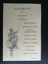 Ancien menu illustré 1901