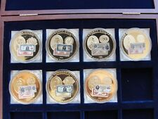 7 American Mint US Gold Certificates 24k Layered Clad Coins In Case With COA'S