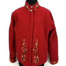 Icelandic Design Women's Coat Sweater Size Medium Lined Red Wool Zipper Jacket
