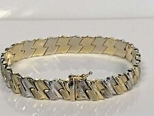 "NEW 14KT Two-Tone Yellow & White Gold Bracelet 7 "" Fancy Link weighs 11.7 Grams"