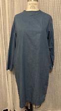 Muji Womens Chambray Dress M/L Knee Length Minimalist Japan Long Sleeve Pockets