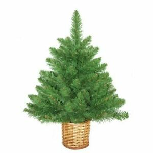 Mini Artificial Christmas Tree with Wicker Basket