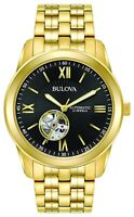 Bulova Men's Automatic Open Heart Window Black Dial Gold Tone 42mm Watch 97A132