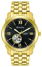 Bulova Men's Automatic Open Heart Window Black Dial Gold Tone 42mm Watch 97A132