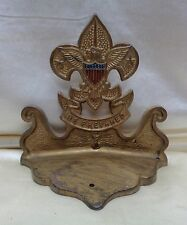 Antique Wall Mounting Fleur De Lis Eagle U.S Flag Gold Finish Metal Decor Piece