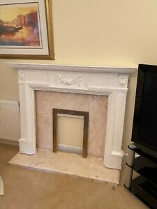 Fire Surround (plaster), with marble back plate and hearth - lovely condition