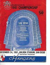 1961 San Diego Chargers- Oilers AFL Championship Program Jack Kemp Autograph!!