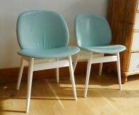 Fabulous Pair of Striking Vintage Mid-Century Blue Vinyl Dining Kitchen Chairs