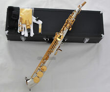 Professional Silver Gold Soprano Saxello saxophone sax Curved bell High F# G Key