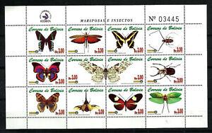 BOLIVIA, 2002 - BUTTERFLIES, MI # BL 1516/27, COMPLETE SET, MNH