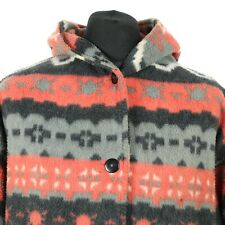 Vintage Patterned Fleece Coat | Aztec Retro Jacket Button Hooded