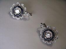 Antique Estate 18K White Gold Diamond Sapphire Pendant Necklace Earrings Set