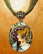 "Shell Pendant Hand Painted Unique Abalon in Resin MUCHA ""La Plume"" The Feather"