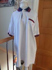 Baggy Loose Polo T Shirt Top GRANDE PIERRE CARDIN VINTAGE BIANCO ROSSO BLU L