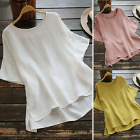 Plus Size Women Loose Baggy Shirt Tops Batwing Short Sleeve Summer Casual Blouse