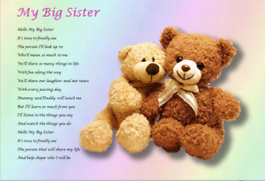 NEW BIG SISTER GIFT - from baby ( laminated gift)
