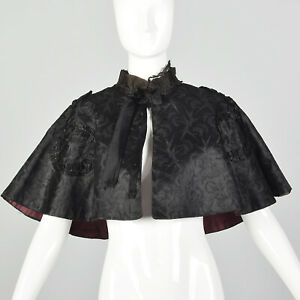 OSFM 1900s Black Cape Silk Beaded Lace Mourning Edwardian Capelet Mantel VTG