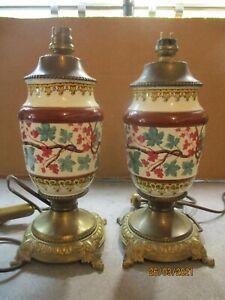 ancienne paire de lampes électrifiés décor japonisant pied laiton haut 25 cm